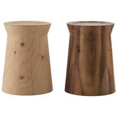 Poliform Dama Side Table or Stool in Solid Cedar or Canaletto Walnut