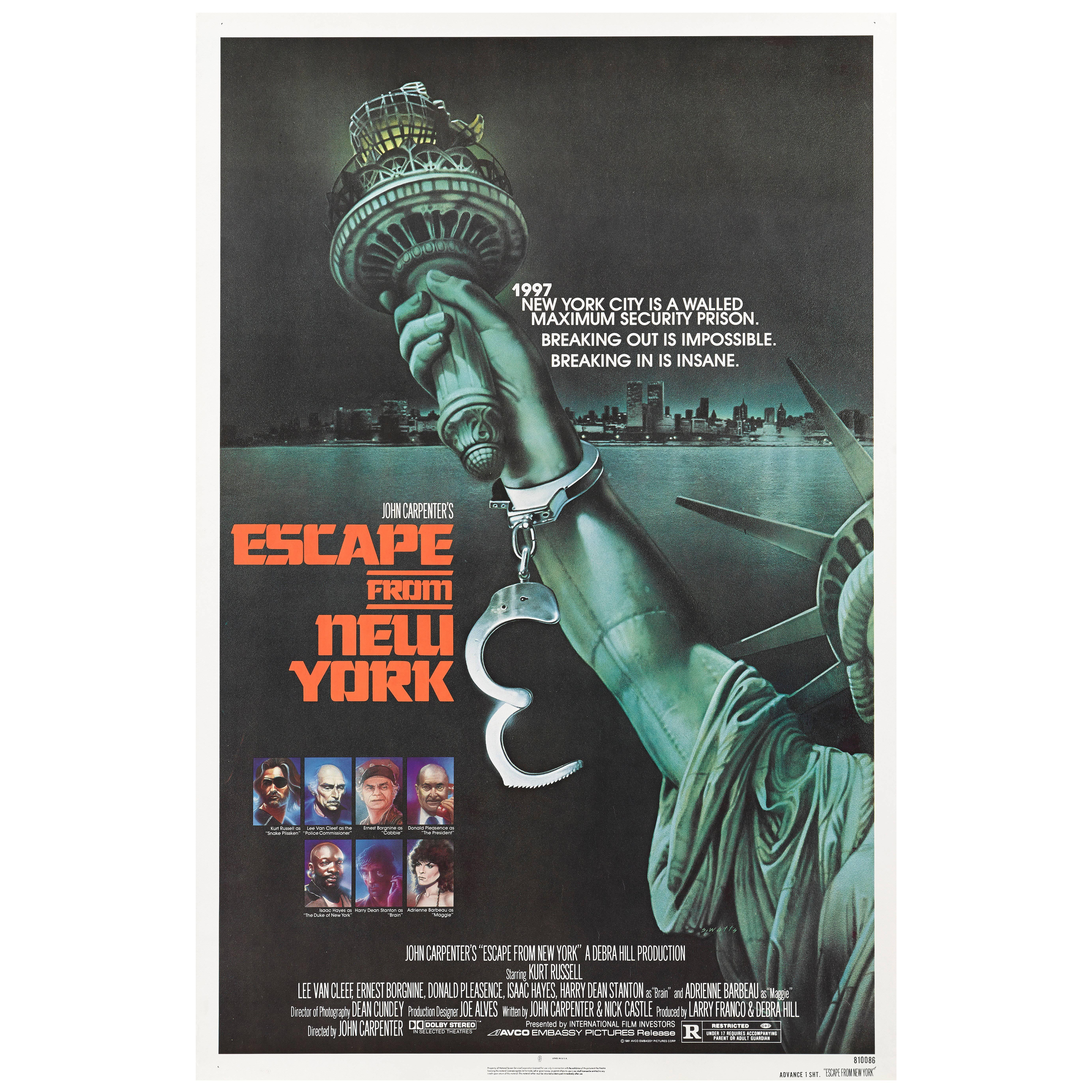 """""""Escape from New York"""" Original US Movie Poster"""