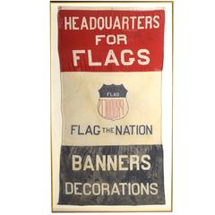 Rare Giant Flag Company Advertising Banner, Vintage