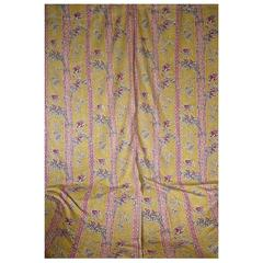 Pair of 19th Century French Antique Saffron Yellow Floral Printed Linen Curtains