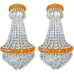 Antique Pair of French Regency Empire Amber Crystal Wedding Cake Chandeliers