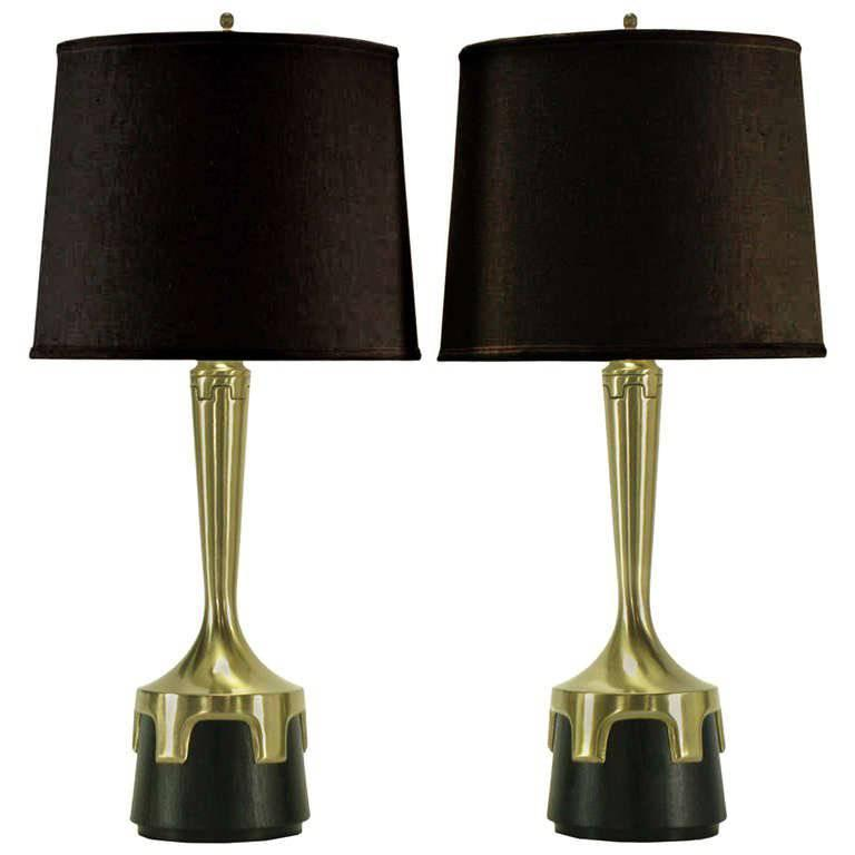 Pair of Frederick Cooper Nickel & Ebonized Walnut Table Lamps
