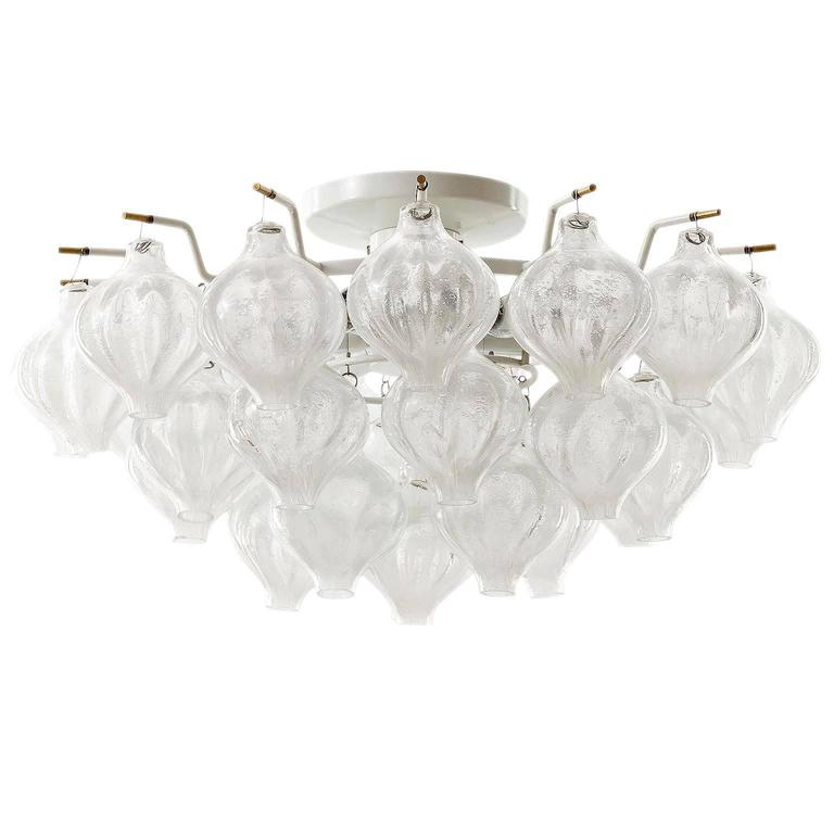 Large Kalmar 'Tulipan' Glass Flush Mount Light Chandelier, 1970s