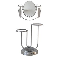 Machine Age, Art Deco Entryhall, Umbrella Stand with Mirror and Brushes, 1920s