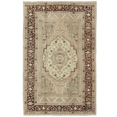 Charming Vintage Oushak Rug in Brown Border, Taupe, Blush and Gray/Green