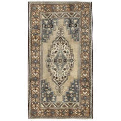 Vintage Oushak Rug in Steal Blue, Taupe, Gray, Beige and Brown