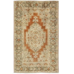 Vintage Turkish Oushak Rug in Rust, Green, Cream, Tape and Neutral Colors