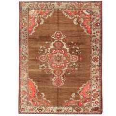 Vintage Oushak Rug with Unique Colors in Brown, Taupe, Aubergine, Green and Gray