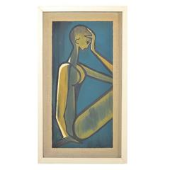 """Oil Painting """"Female Nude"""" Expressionism, 1960s, Unknown Artist"""