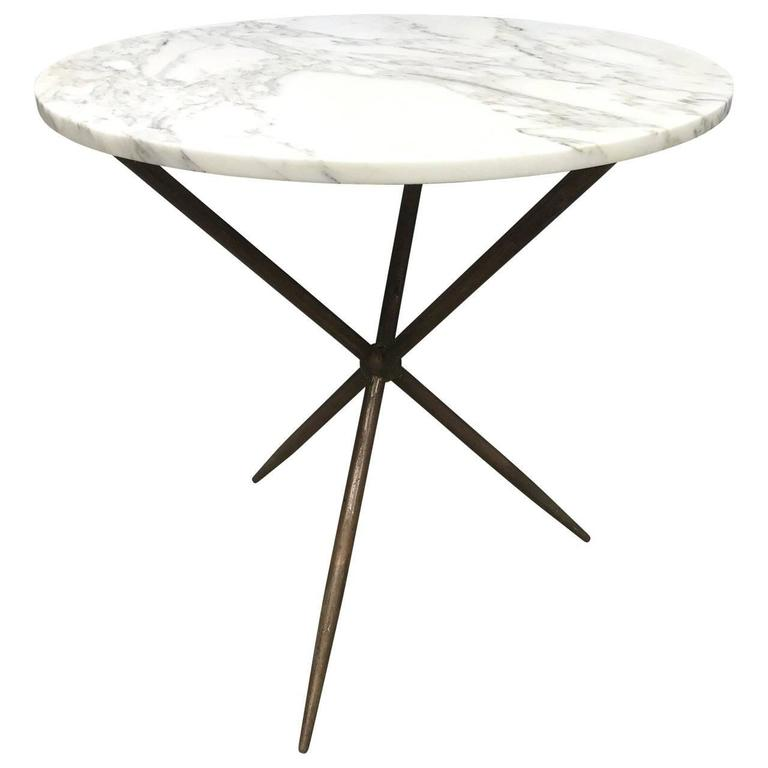Round Bronze And Marble Top Cafe Table For Sale