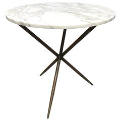 Round Bronze and Marble-Top Cafe Table