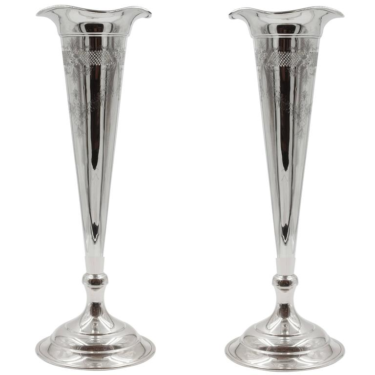 Pair Of Trumpet Vases For Sale At 1stdibs