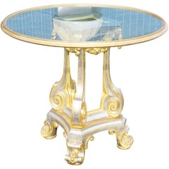 French Louis XV Parcel Gilt Silver and Gold Leaf Mirrored Center Table