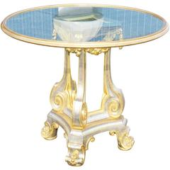 Directoire Style Gilt Painted and Mirrored Glass Top Centre Table