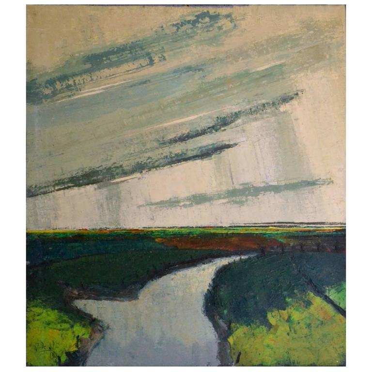 1968 Expressionist Belgium Landscape Oil Painting by J. De Wil