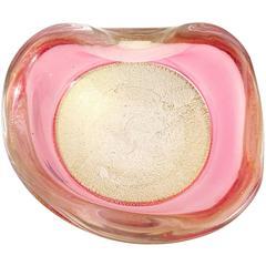 Archimede Seguso Murano Gold Flecks Pink Incalmo Rim Italian Art Glass Bowl