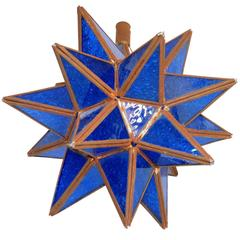 Tunisian Deep Blue Glass Pendant Star Shape Handmade Ceiling Lamp or Light
