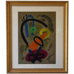 "Peter Robert Keil ""Abstract Composition"" Framed Oil Painting"