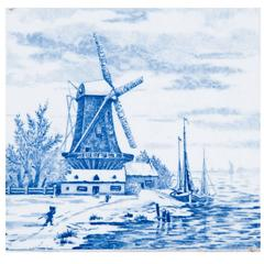 19th Century Delft Blue and White Tile of a Windmill and Waterway