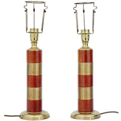 Pair of Brass and Teak 1950s Table Lamps