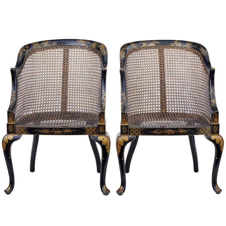 Pair of Early 20th Century Lacquered Chinoiserie Cane Chairs 1