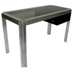 Single Drawer Nickel Chromed Steel and Aluminium French Desk, Etienne Ferminger