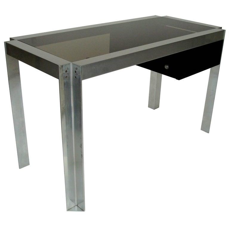 Single Drawer Nickel Chromed Steel and Aluminium French Desk, Etienne Ferminger
