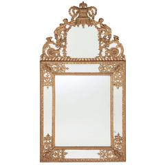 Large Régence Period French Antique Giltwood Mirror