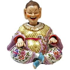 Meissen Male Buddha Movable Hands Head Tongue Figurine by Kaendler, circa 1860