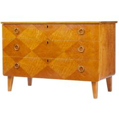 1950s Swedish Decorative Birch Chest of Drawers