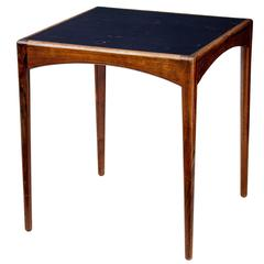 1950s Danish Rosewood Leather Top Side Table