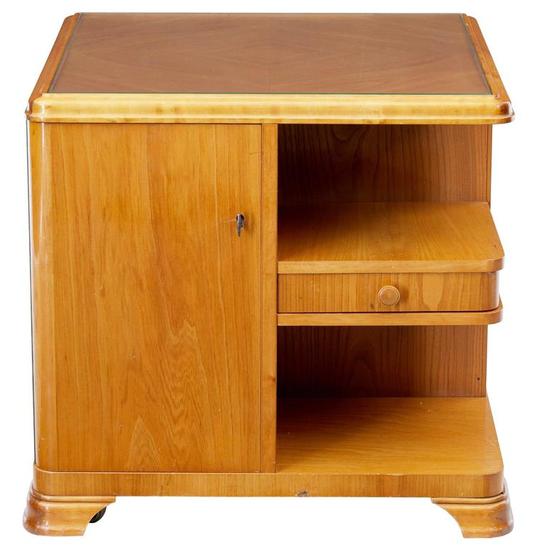 Later Art Deco Swedish Elm Occasional Table Cabinet For Sale