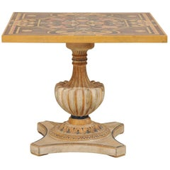 Italian Pietra Dura Table, Mid-Century with Ornate Color Pattern on Square Top