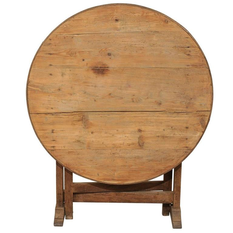 Lovely French Wine Tasting Table in Round Shape with Tilt-Top and Gate Legs