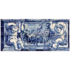 """18th Century Portuguese Tile Mural """"Pair of Puttis"""""""