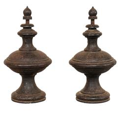 Pair of 19th Century European Cast Iron Finials with Beautiful Patina