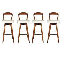 Set of Four Open Back MCM Bar Stools in the Style of Edward Wormley