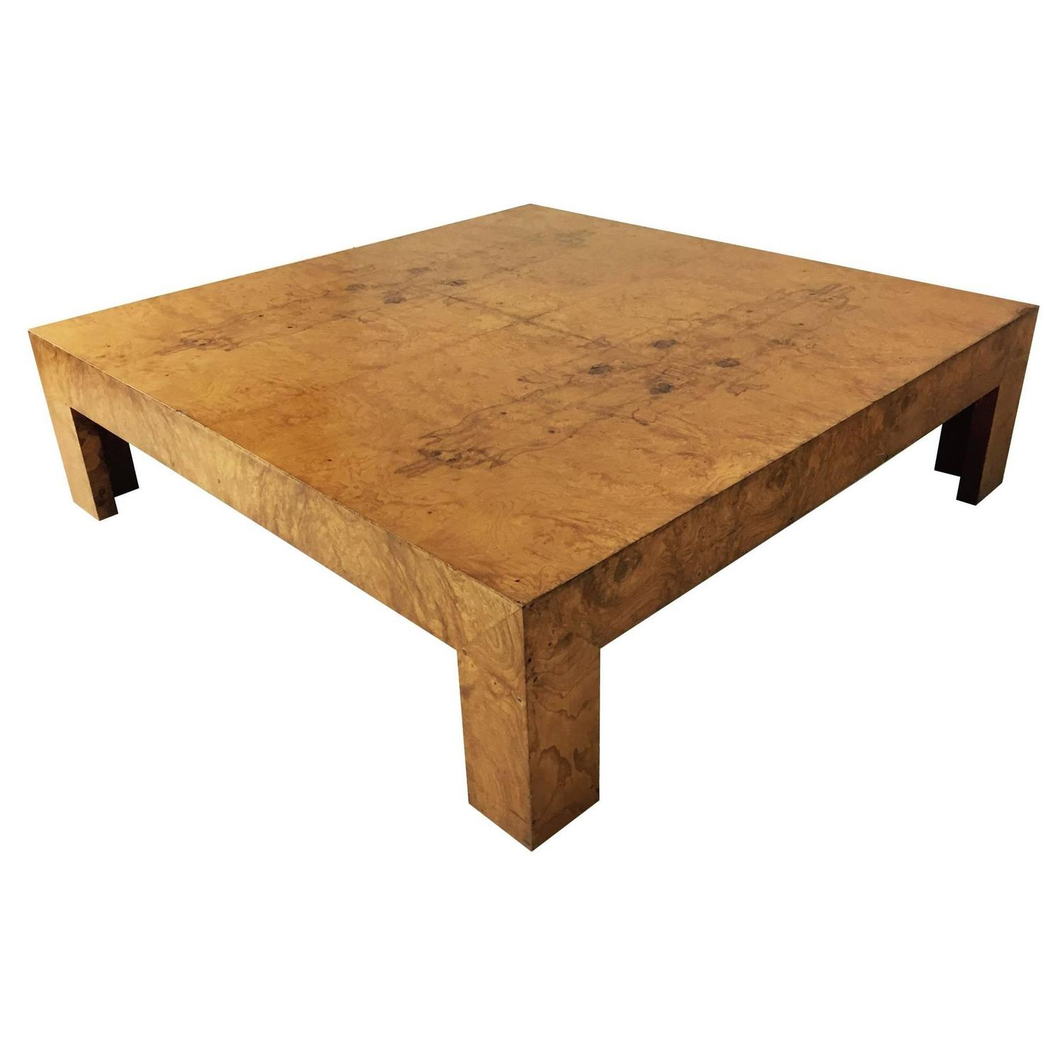 Monumental Milo Baughman Burl Wood Coffee Table at 1stdibs