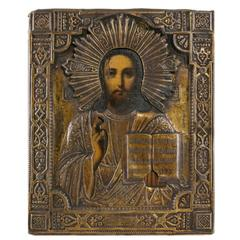 19th Century Hand-Painted Wooden Russian Orthodox Icon with Gilt Bronze Oklad