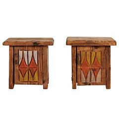 Pair of Rustically Carved Side Tables with NW TOTEM Motif, circa 1950s