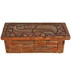 Rustically Carved Blanket Chest with NW TOTEM Motif, circa 1950s