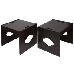 Pair of Wood End Tables with Cut-out Details