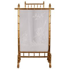 Japanese Style Fire Screen in Gilt Bronze in Imitation of Bamboo, Engraved Glass