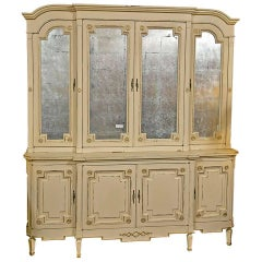 Maison Jansen Ivory Distress Painted Gilt Gold Decorated Bookcase / Cabinet