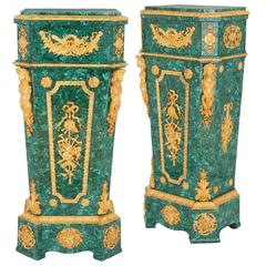 Pair of Neoclassical Style Ormolu-Mounted Malachite Pedestals