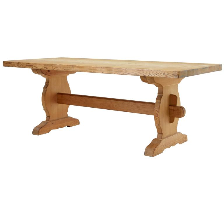 1960s Swedish Pine Trestle Dining Table For