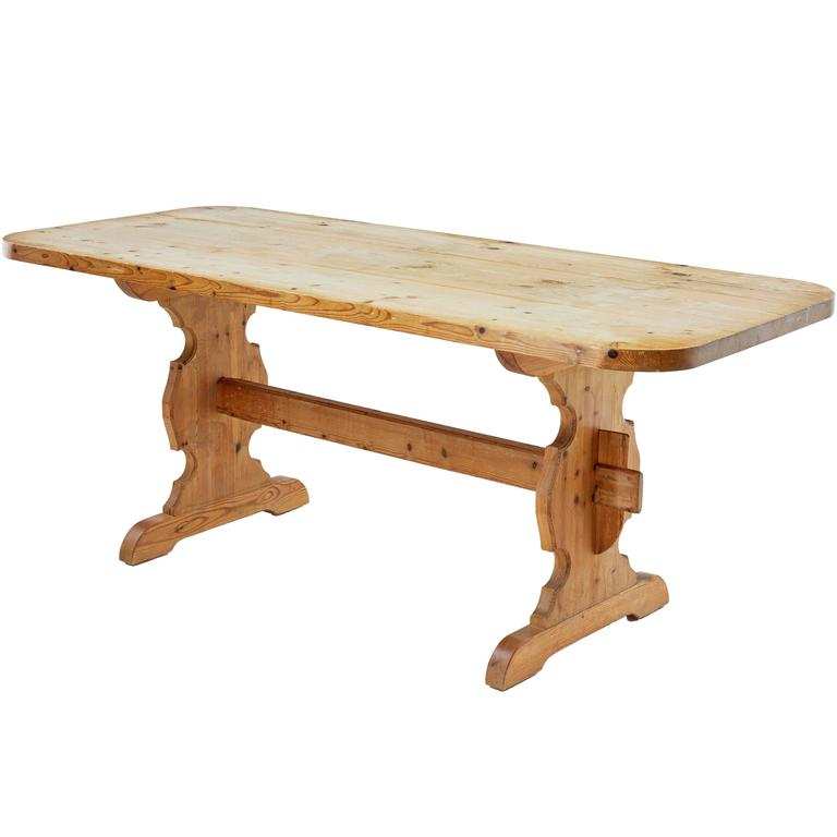 1920s swedish pine trestle dining kitchen table for sale