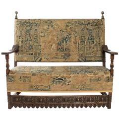 16th Century Franco-Flemish Tapestry Bench