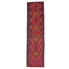 Vintage Persian Heriz Karaja Runner with with Tribal Art Deco Style