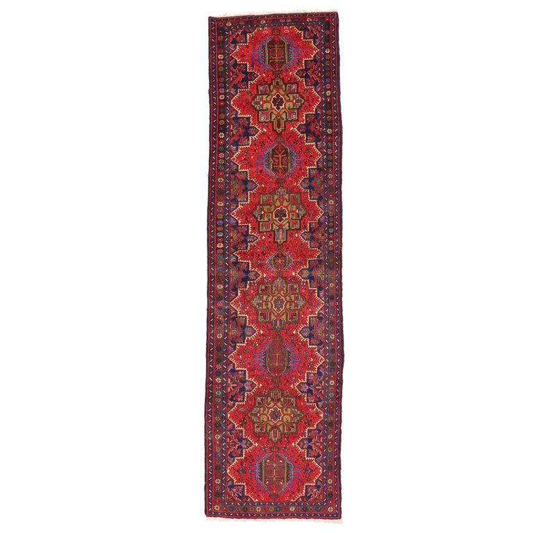 Vintage Persian Heriz Karaja Runner with with Tribal Art Deco Style For Sale